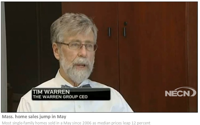 Mass. home sales jump in May – Tim Warren featured on NECN story